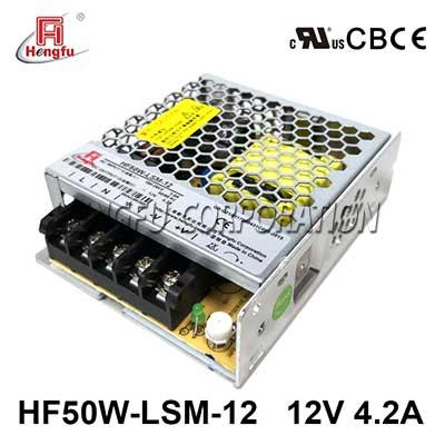 亚博体育app在线下载电源HF50W-LSM-12宽电网直流DC12V4.2A单路输出超薄开关电源