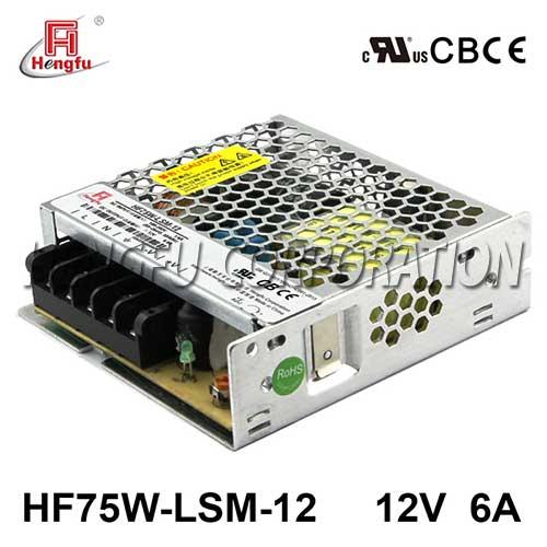 亚博体育app在线下载电源HF75W-LSM-12宽电网直流DC12V6A单路输出超薄型开关电源