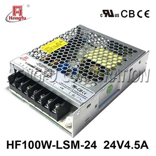 新品亚博体育app在线下载HF100W-LSM-24宽电网DC24V4.5A单路输出超薄型开关电源