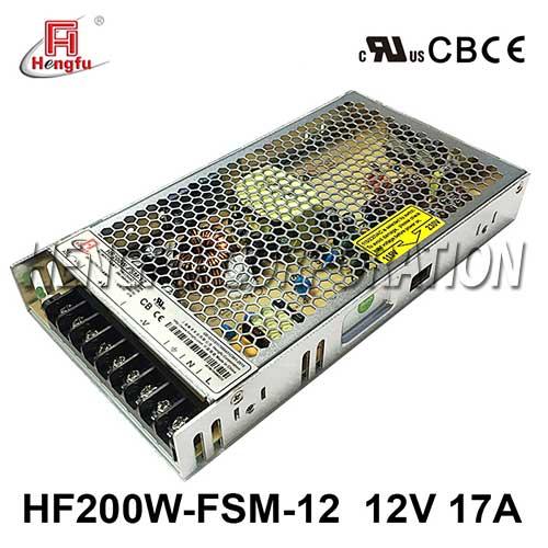亚博体育app在线下载HF200W-FSM-12新品110V/220VAC转DC12V17A单路超薄型开关电源