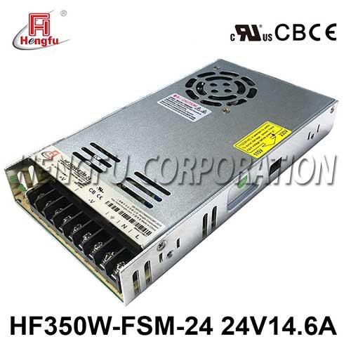 亚博体育app在线下载HF350W-FSM-24新品110V/220VAC转DC24V14.6A单路超薄开关电源
