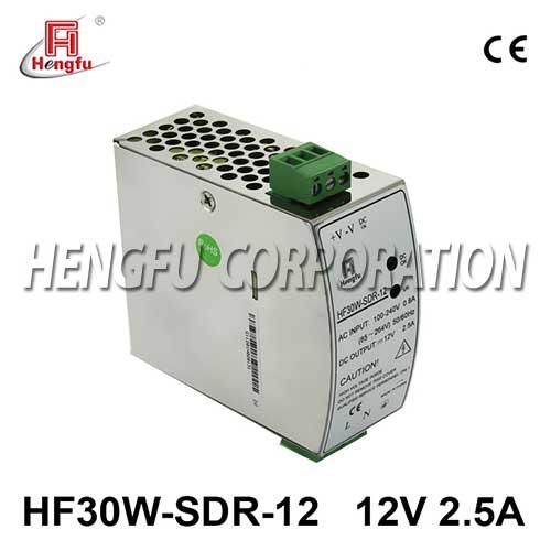 亚博体育app在线下载电源HF30W-SDR-12开关电源DC12V2.5A单路输出宽电网导轨电源