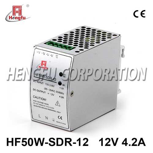 亚博体育app在线下载电源HF50W-SDR-12开关电源DC12V4.2A单路输出宽电网导轨电源