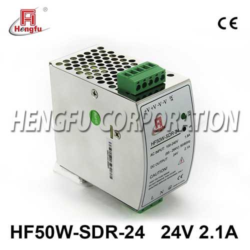 亚博体育app在线下载电源HF50W-SDR-24开关电源DC24V2.1A单路输出宽电网导轨电源