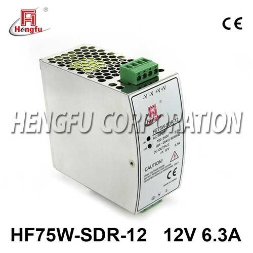 亚博体育app在线下载电源HF75W-SDR-12开关电源DC12V6.3A单路输出宽电网导轨电源