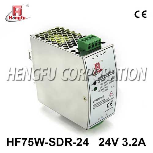 亚博体育app在线下载电源HF75W-SDR-24开关电源DC24V3.2A单路输出宽电网导轨电源