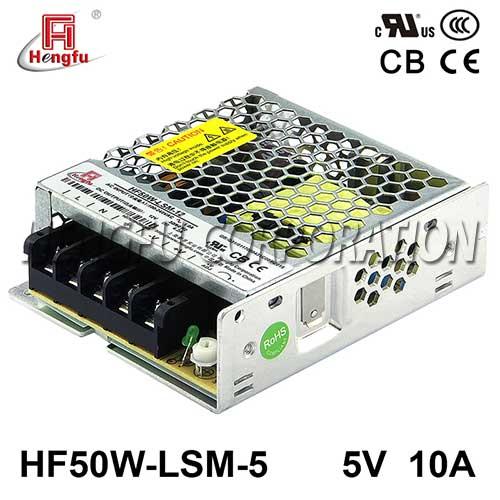 贝博足彩电源HF50W-LSM-5宽电网直流DC5V10A单路输出超薄开关电源