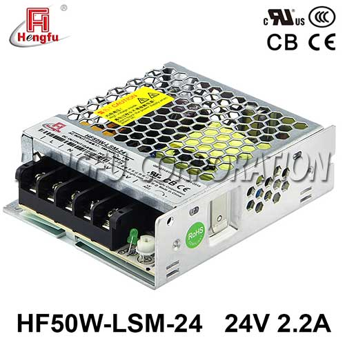 贝博足彩电源HF50W-LSM-24宽电网直流DC24V2.2A单路输出超薄开关电源