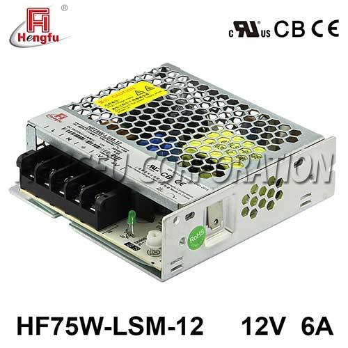 贝博足彩电源HF75W-LSM-12宽电网直流DC12V6A单路输出超薄型开关电源