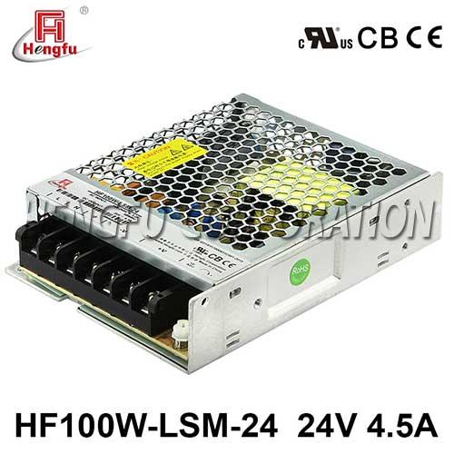 新品贝博足彩HF100W-LSM-24宽电网DC24V4.5A单路输出超薄型开关电源