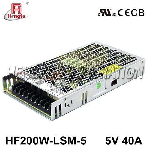 贝博足彩HF200W-FSM-5新品110V/220VAC转DC5V40A单路超薄型开关电源