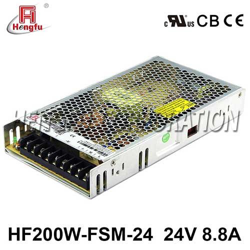 贝博足彩HF200W-FSM-24新品110V/220VAC转DC24V8.8A单路超薄开关电源