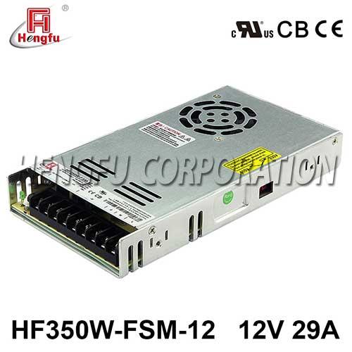 贝博足彩HF350W-FSM-12新品110V/220VAC转DC12V29A单路超薄型开关电源