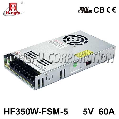 贝博足彩HF350W-FSM-5新品110V/220VAC转DC5V60A单路超薄型开关电源