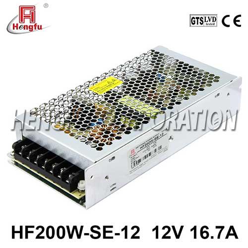 新品HF200W-SE-12贝博足彩电源220V转直流DC12V16.7A单路输出开关电源