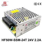 贝博足彩电源HF50W-SSM-24T宽电网直流DC24V2.2A单路输出小薄开关电源