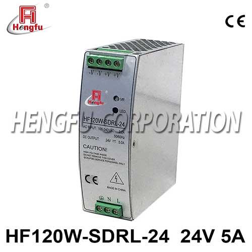 新品贝博足彩HF120W-SDRL-24导轨电源90-264VAC转DC24V5A开关电源